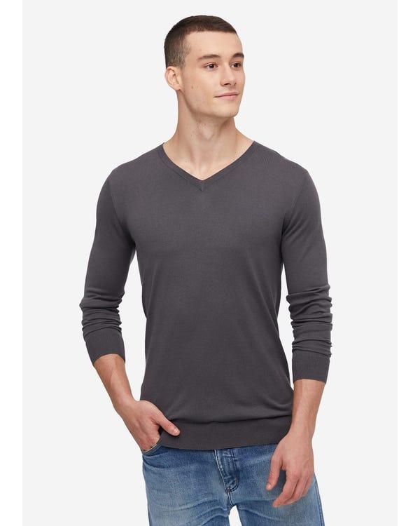 Mens Basic Silk V Neck Tee Dark Gray S