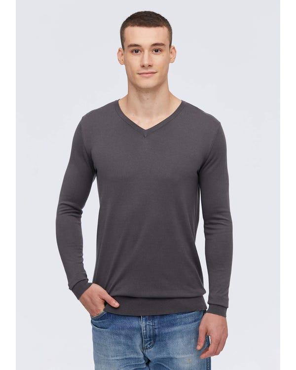 Mens Basic Silk V Neck Tee Dark Gray S-hover