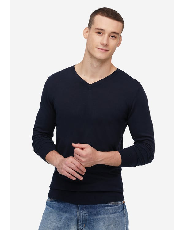Mens Basic Silk V Neck Tee
