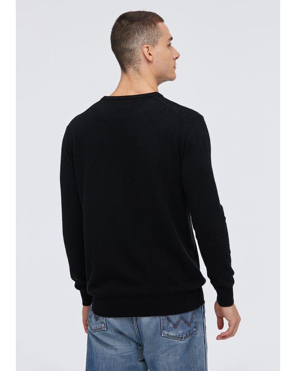 Crew Neck Cashmere Sweater For Men Black S-hover