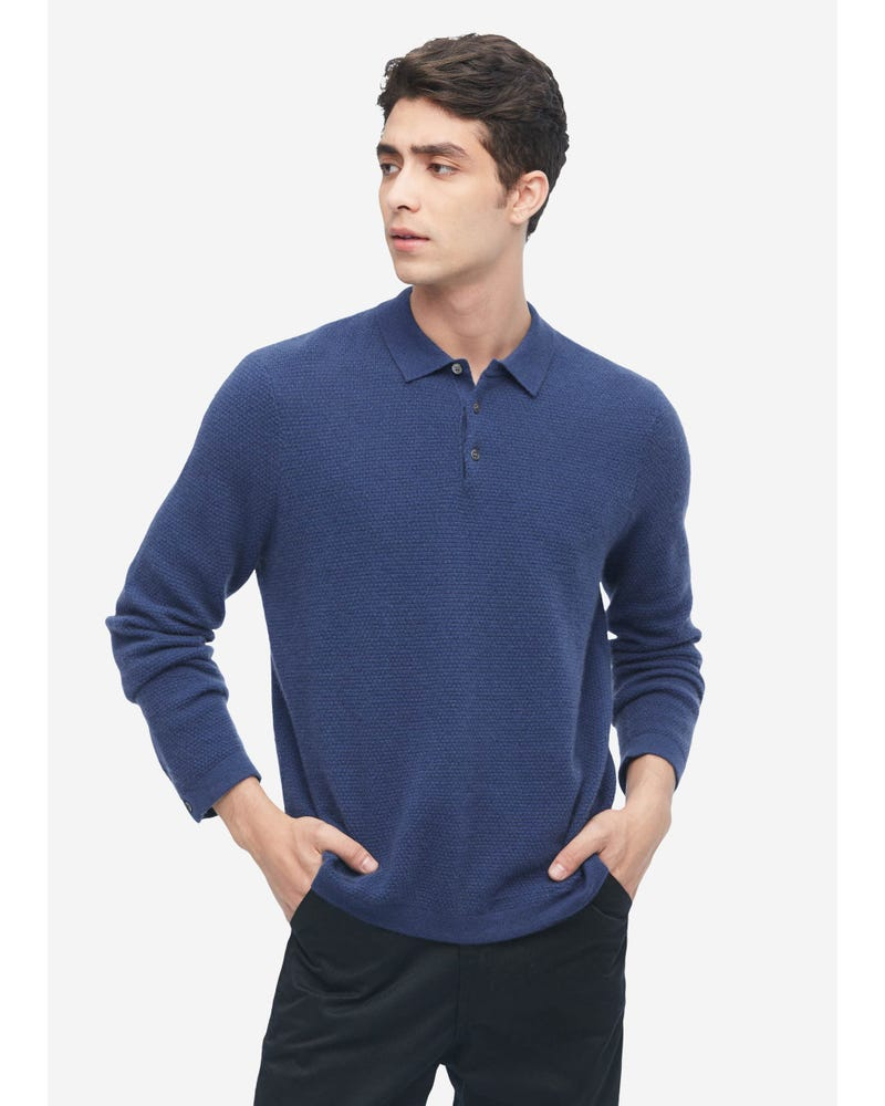 Pure Cashmere Polo Sweater For Men