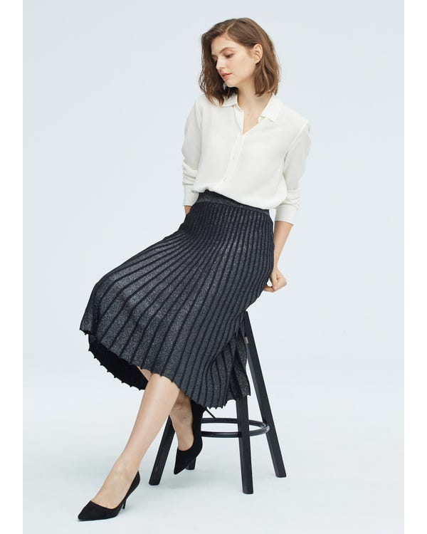 Gorgeous Draped Silk Knitted Pleated Skirt Black S-hover