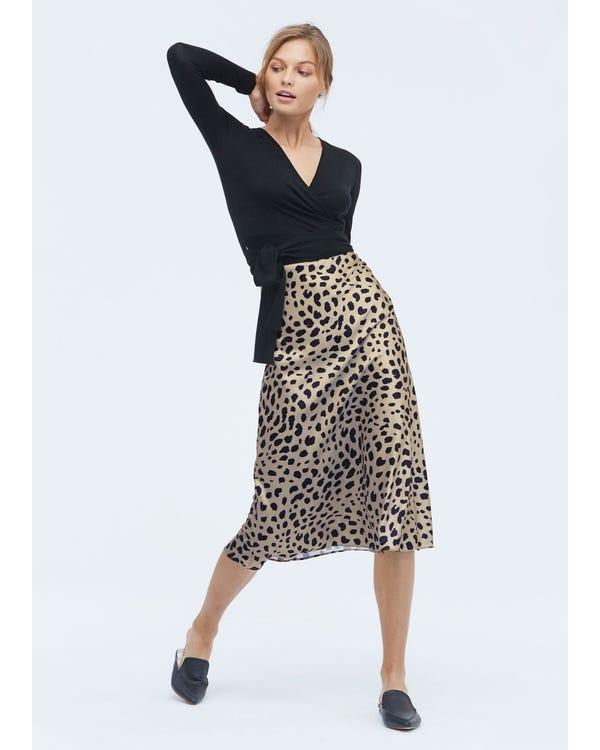 Classic Silk Leopard Print Skirt Leopard-Print-W19 M-hover