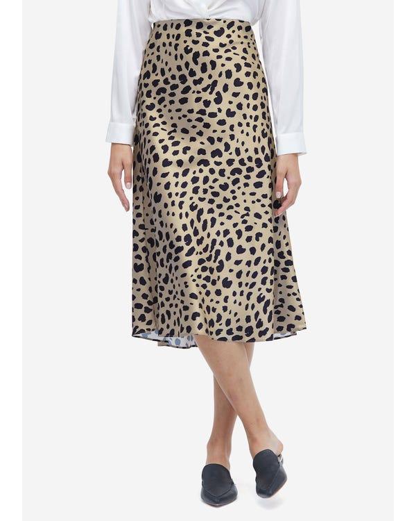 Classic Silk Leopard Print Skirt