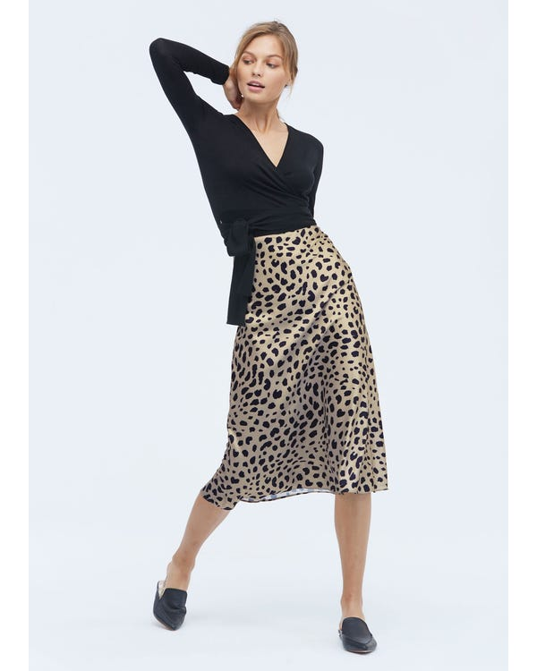 Classic Silk Leopard Print Skirt-hover