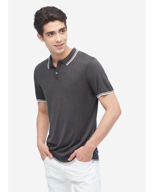 Zijden Gebreid Poloshirt Voor Heren Dark Gray S