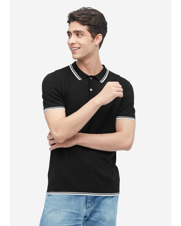 Silk Knit Polo Shirt For Men