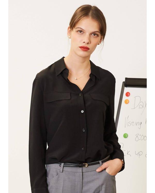 Basic Kasten Faltete Bluse Seide Hemden Schwarz XS