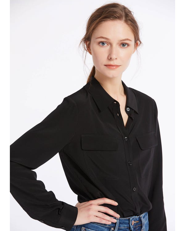 Basic Box Pleated Silk Shirts Black XXL-hover