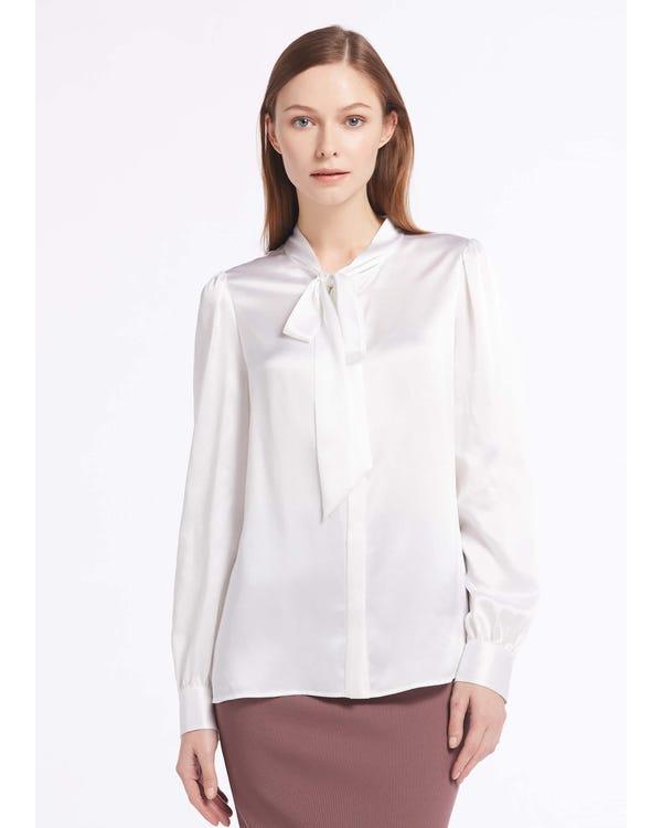 22MM Elegant Tie Collar Silk Shirts