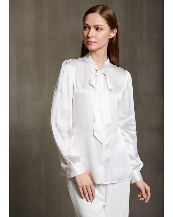 22MM Elegant Tie Collar Silk Shirts-hover