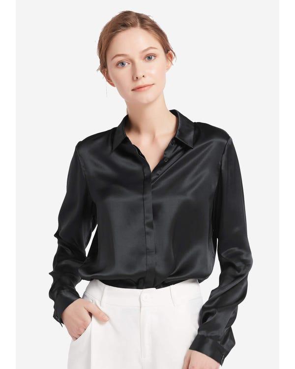 Ontspannen Verborgen Knoppen Zijde Overhemd Zwart XL