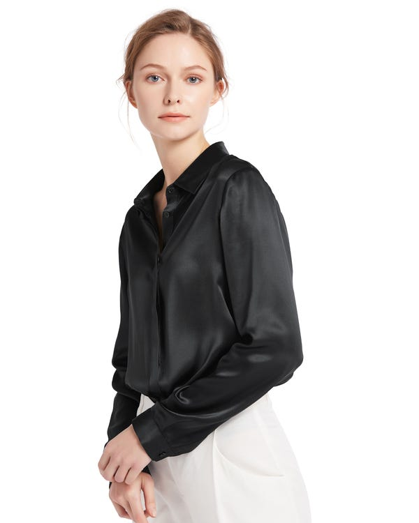 Ontspannen Verborgen Knoppen Zijde Overhemd Zwart XL-hover