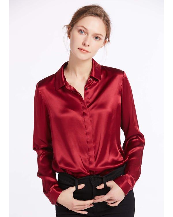 Basic Concealed Placket Silk Shirt Claret XXXL