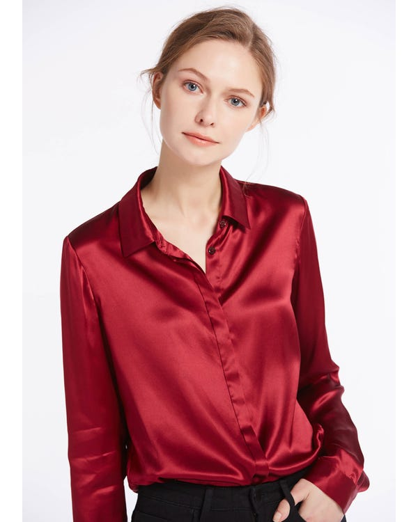 Basic Concealed Placket Silk Shirt Claret XXS-hover