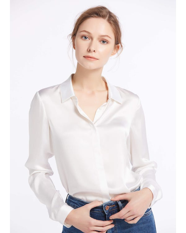 Basic Concealed Placket Silk Shirts White XS