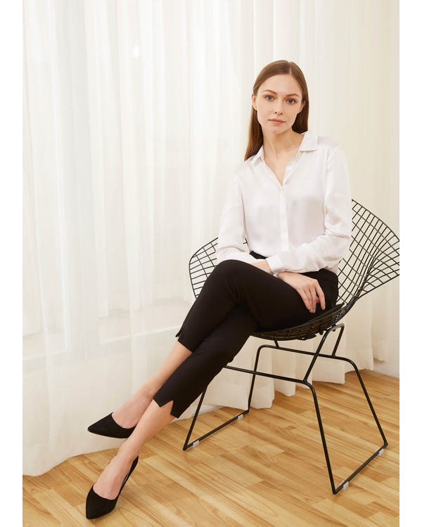 Basic Concealed Placket Silk Shirts White XXL-hover