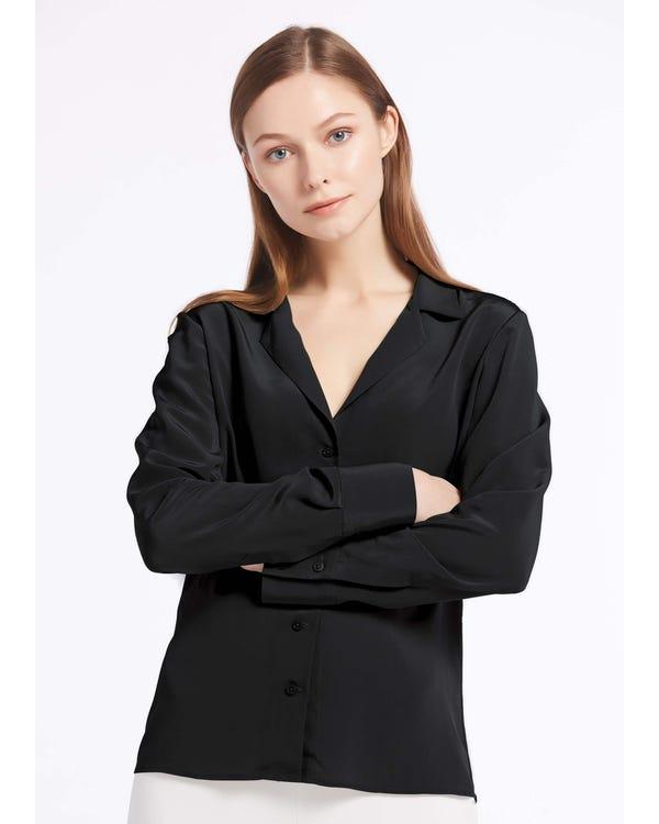 V Neck Button Front Silk Shirts
