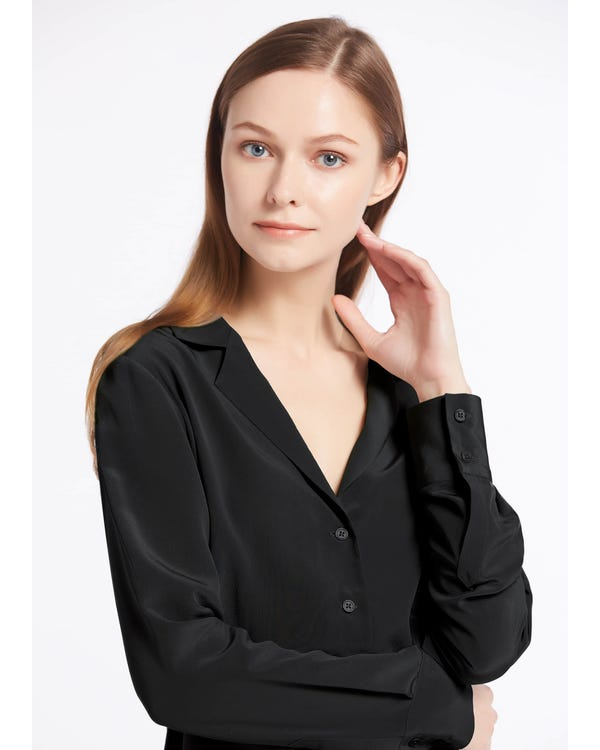 V Neck Button Front Silk Shirts-hover