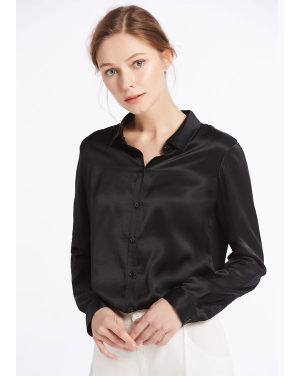 Basic Military Silk Shirts Black XS