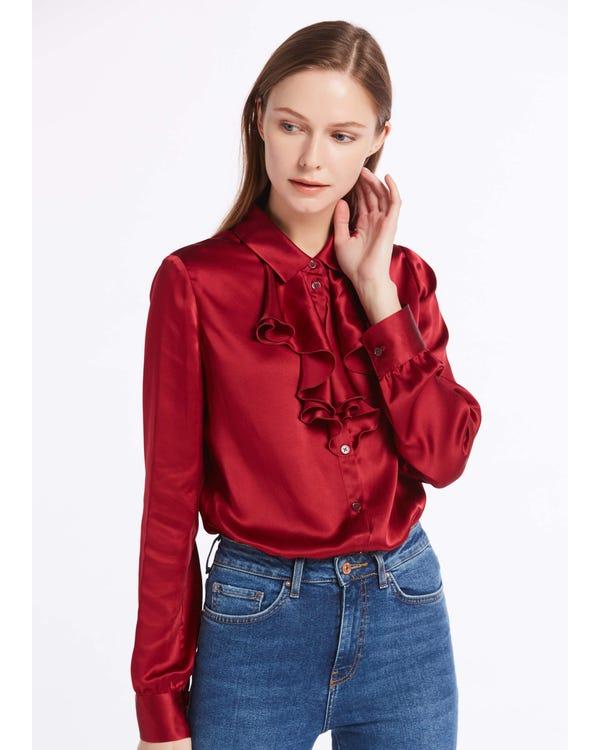 22MM Feminine Cascade Front Silk Shirts