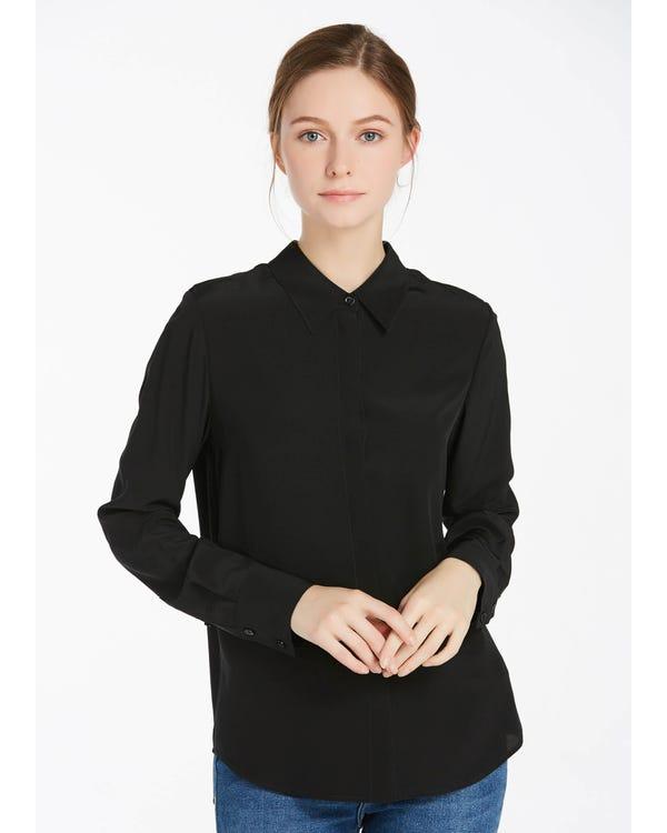 Wrinkle Free Basic Silk Shirt Black XXL