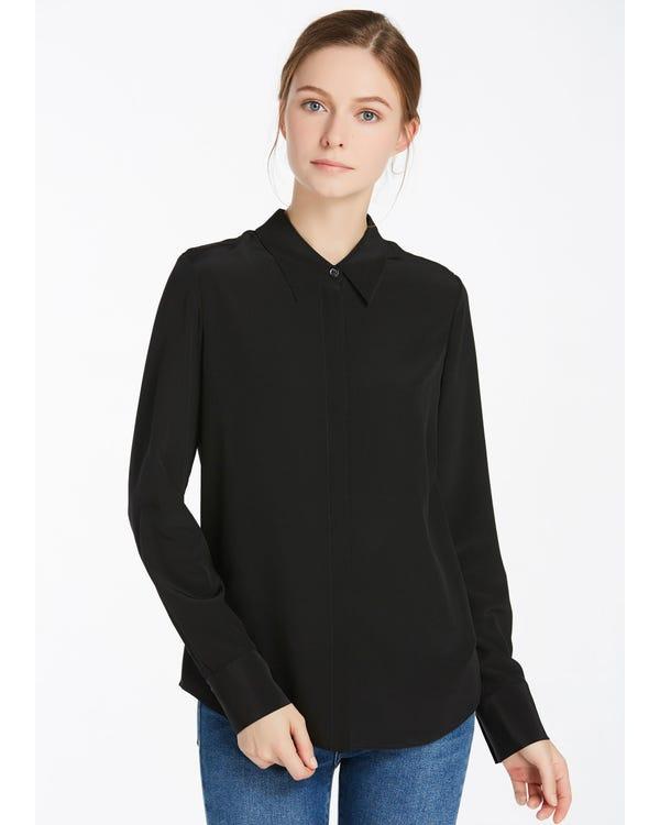 Wrinkle Free Basic Silk Shirt Black XXL-hover
