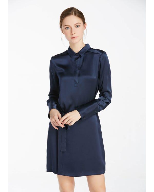 22MM Pull Over High Rise Shift Silk Dress Navy Blue M