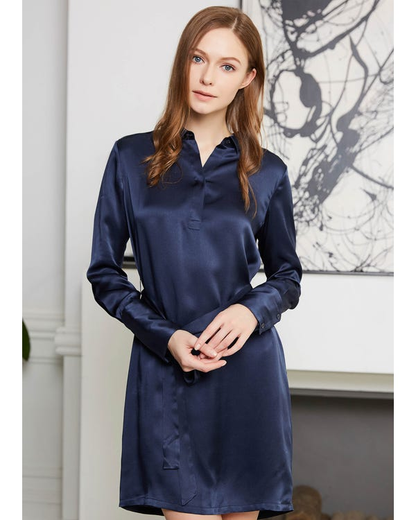 22MM Pull Over High Rise Shift Silk Dress Navy Blue XL-hover