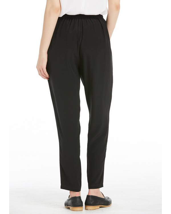 Pleat Front Harem Silk Trousers Black 31B-hover