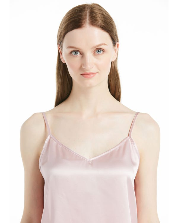 V Neck Front and Back Silk Camisole Rosy Pink XS