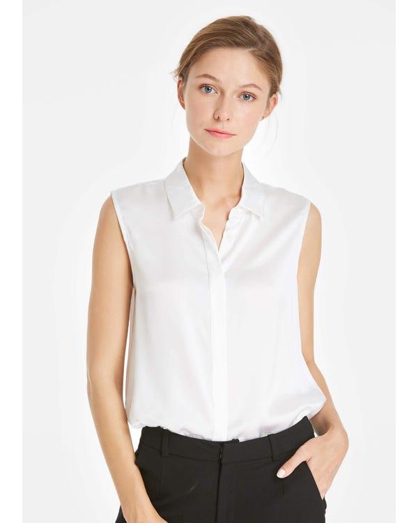 22MM Office Basic Silk Vest Top White XXL