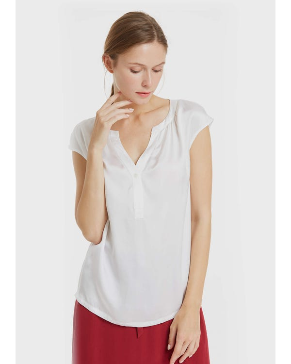 Casual V Neck Silk T Shirt White XL