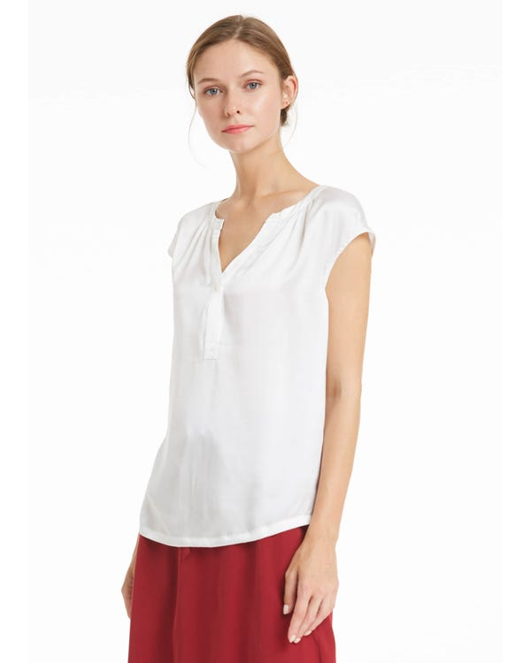 Casual V Neck Silk T Shirt White XL-hover