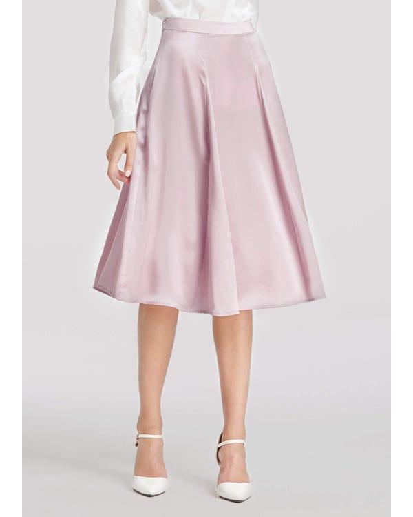 Side Zipper Silk Skirt Rosy Pink L