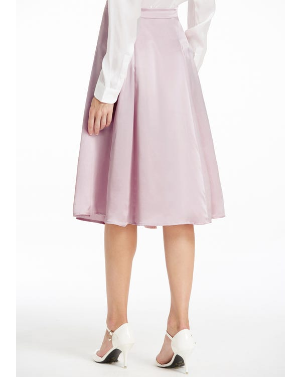 Side Zipper Silk Skirt Rosy Pink S-hover