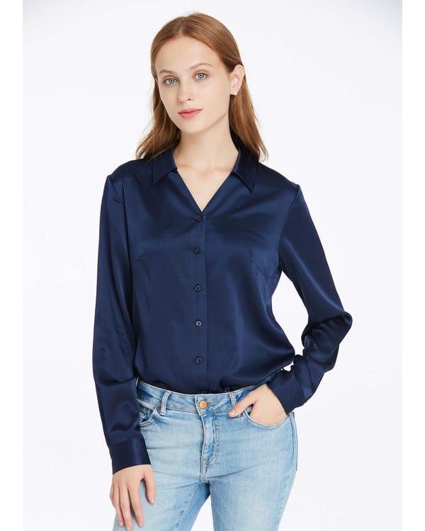 19MM V Neck Work Wear Silk Blouse