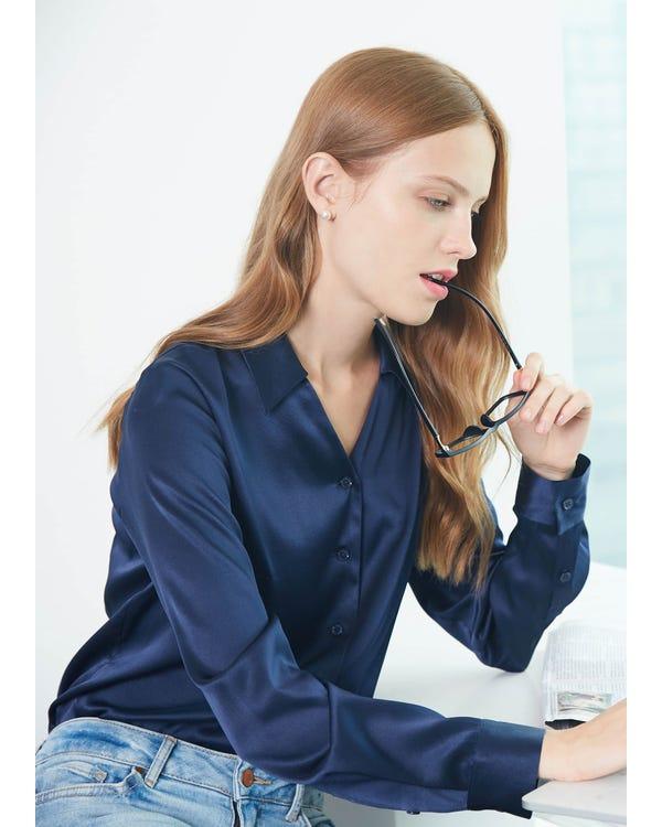 19MM V Neck Work Wear Silk Blouse-hover