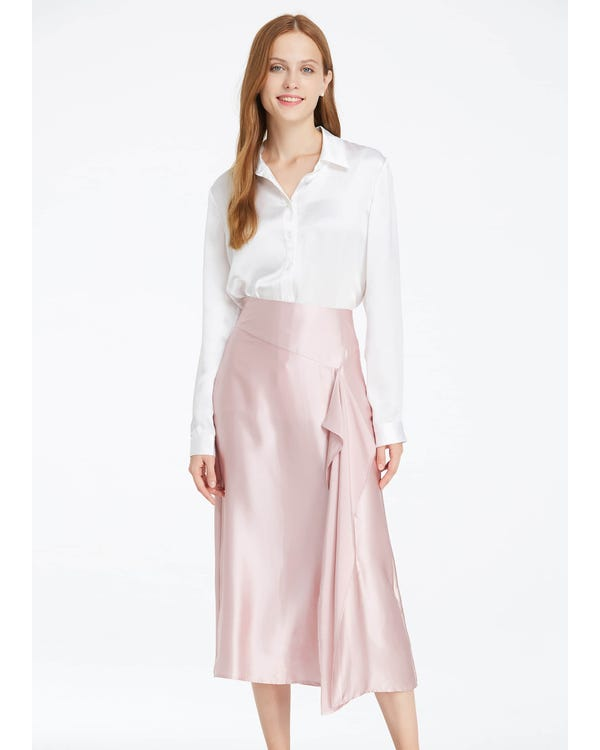 19MM Sexy Silk Skirt Rosy Pink S-hover