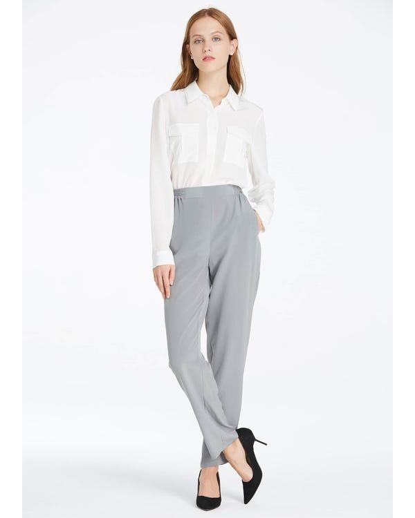 Elastic Waist Silk Bottoms Classy Grey 33B