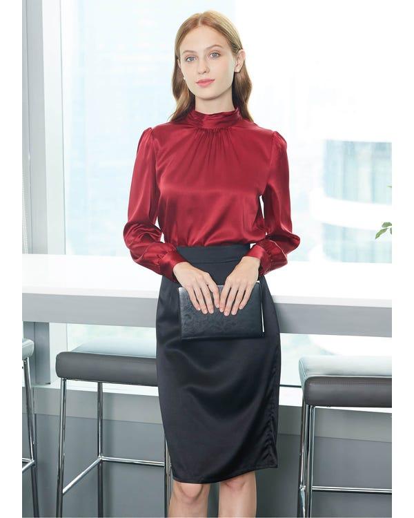 Retro Style Silk Blouse-hover