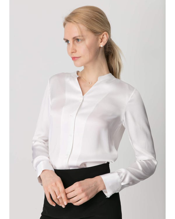 22MM Stand Collar Silk Power Blouse White XXL