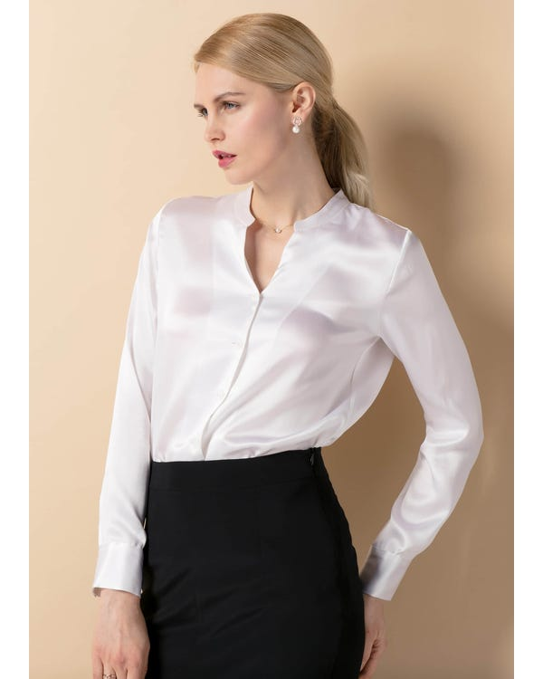 22MM Stand Collar Silk Power Blouse White XXL-hover