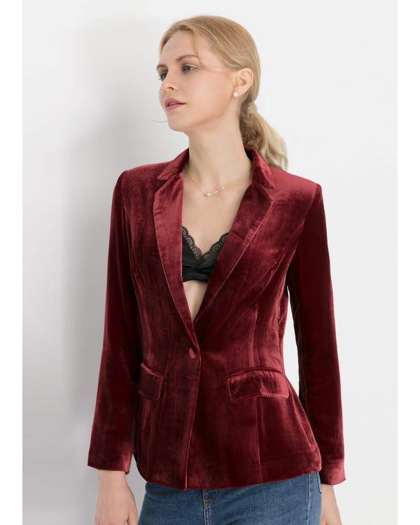 Giacca di seta Velluto a Vita Violetto Rosso M