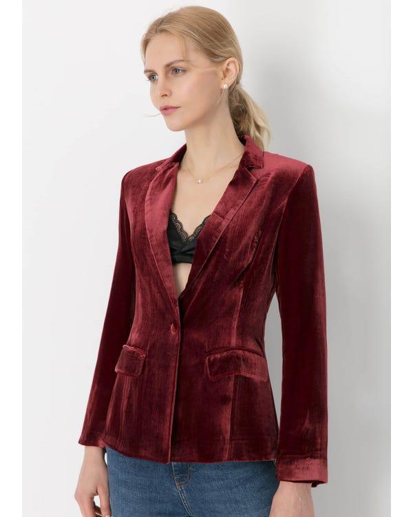 Giacca di seta Velluto a Vita Violetto Rosso M-hover