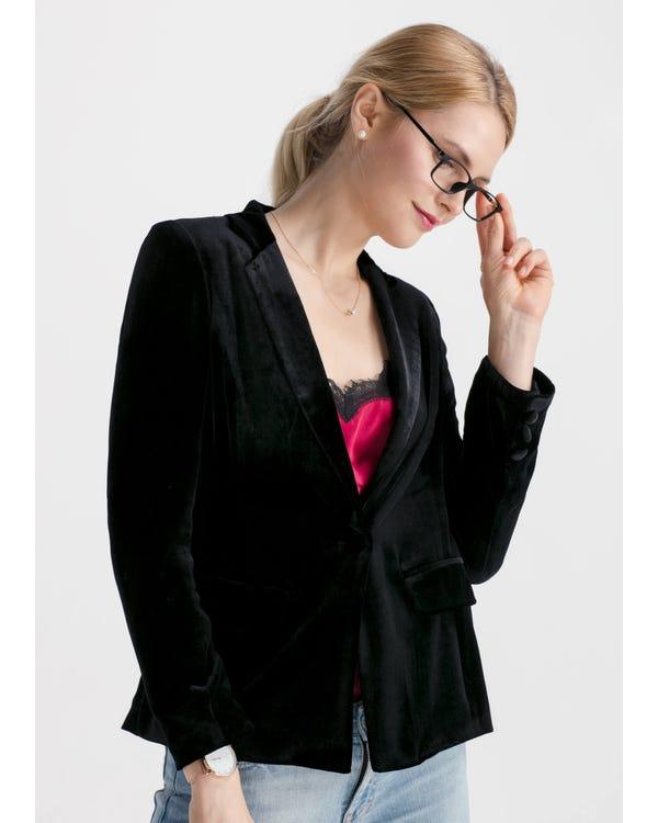 Waist Flattering Silk Velvet Blazer