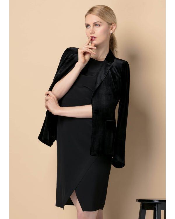 Waist Flattering Silk Velvet Blazer-hover
