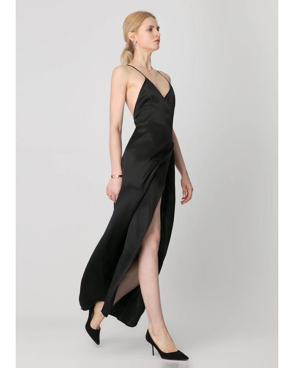 Perfect Party Ready  Silk Dress Black XXL