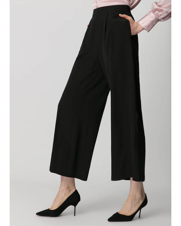 Smooth Silk Wide Leg Cropped Pants Black 31B