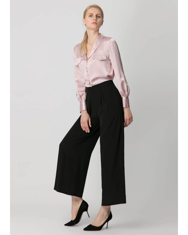 Smooth Silk Wide Leg Cropped Pants Black 31B-hover